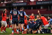 26 October 2020; Munster players celebrate their side's second try scored by Gavin Coombes during the Guinness PRO14 match between Munster and Cardiff Blues at Thomond Park in Limerick. Photo by Ramsey Cardy/Sportsfile
