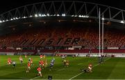26 October 2020; JJ Hanrahan of Munster escapes the tackle of James Botham of Cardiff Blues on his way to scoring his side's fifth try during the Guinness PRO14 match between Munster and Cardiff Blues at Thomond Park in Limerick. Photo by Harry Murphy/Sportsfile