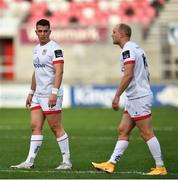 25 October 2020; James Hume, left, and Matt Faddes of Ulster during the Guinness PRO14 match between Ulster and Dragons at Kingspan Stadium in Belfast. Photo by David Fitzgerald/Sportsfile