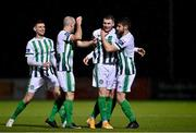27 October 2020; Ryan Graydon, centre, of Bray Wanderers celebrates with team-mates Paul Keegan, left,and Killian Cantwell after scoring his side's first goal during the SSE Airtricity League First Division match between Athlone Town and Bray Wanderers at Athlone Town Stadium in Athlone, Westmeath. Photo by Eóin Noonan/Sportsfile