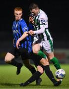 27 October 2020; Ryan Graydon of Bray Wanderers is tackled by Scott Delaney of Athlone Town during the SSE Airtricity League First Division match between Athlone Town and Bray Wanderers at Athlone Town Stadium in Athlone, Westmeath. Photo by Eóin Noonan/Sportsfile