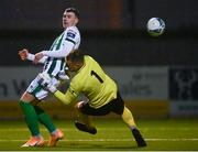 27 October 2020; Ryan Graydon of Bray Wanderers has a shot on goal saved by Aaron Myles of Athlone Town during the SSE Airtricity League First Division match between Athlone Town and Bray Wanderers at Athlone Town Stadium in Athlone, Westmeath. Photo by Eóin Noonan/Sportsfile