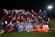 27 October 2020; Drogheda United players celebrate with the SSE Airtricity First Division trophy following their match against Cabinteely at Stradbrook in Blackrock, Dublin. Photo by Stephen McCarthy/Sportsfile