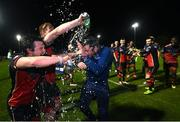 27 October 2020; Drogheda United manager Tim Clancy celebrates with his players after winning the SSE Airtricity First Division following their match against Cabinteely at Stradbrook in Blackrock, Dublin. Photo by Stephen McCarthy/Sportsfile