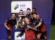 27 October 2020; Jack Tuite of Drogheda United and team-mates celebrate with the SSE Airtricity First Division trophy following their match against Cabinteely at Stradbrook in Blackrock, Dublin. Photo by Stephen McCarthy/Sportsfile