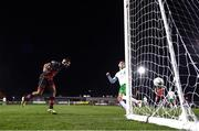 27 October 2020; Luke Heeney of Drogheda United heads to score his side's second goal during the SSE Airtricity League First Division match between Cabinteely and Drogheda United at Stradbrook in Blackrock, Dublin. Photo by Stephen McCarthy/Sportsfile