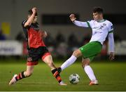 27 October 2020; Jack Connolly of Cabinteely in action against James Clarke of Drogheda United during the SSE Airtricity League First Division match between Cabinteely and Drogheda United at Stradbrook in Blackrock, Dublin. Photo by Stephen McCarthy/Sportsfile