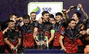 27 October 2020; Drogheda United captain Jake Hyland and team-mates celebrate after winning the SSE Airtricity First Division following their match against Cabinteely at Stradbrook in Blackrock, Dublin. Photo by Stephen McCarthy/Sportsfile