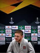 28 October 2020; Sean Murray during a Dundalk press conference at the Emirates Stadium in London, England. Photo by Ben McShane/Sportsfile