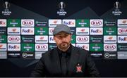 28 October 2020; Dundalk interim head coach Filippo Giovagnoli during a Dundalk press conference at the Emirates Stadium in London, England. Photo by Ben McShane/Sportsfile