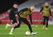 28 October 2020; Chris Shields, right, and Darragh Leahy during a Dundalk Training Session at the Emirates Stadium in London, England. Photo by Ben McShane/Sportsfile