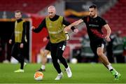28 October 2020; Chris Shields, left, and Jordan Flores during a Dundalk Training Session at the Emirates Stadium in London, England. Photo by Ben McShane/Sportsfile