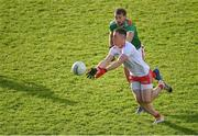 25 October 2020; Liam Rafferty of Tyrone in action against Aidan O'Shea of Mayo during the Allianz Football League Division 1 Round 7 match between Mayo and Tyrone at Elverys MacHale Park in Castlebar, Mayo. Photo by Piaras Ó Mídheach/Sportsfile