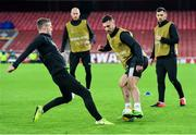 28 October 2020; Jordan Flores, second from right, and Cameron Dummigan, left, during a Dundalk Training Session at the Emirates Stadium in London, England. Photo by Ben McShane/Sportsfile