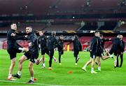 28 October 2020; Brian Gartland, left, and Michael Duffy during a Dundalk Training Session at the Emirates Stadium in London, England. Photo by Ben McShane/Sportsfile