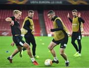 28 October 2020; Michael Duffy, second from right, and Greg Sloggett, left, during a Dundalk Training Session at the Emirates Stadium in London, England. Photo by Ben McShane/Sportsfile