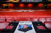 29 October 2020; A banner in commemoration to the late Dundalk team videographer Harry Taaffe in the stadium prior to the UEFA Europa League Group B match between Arsenal and Dundalk at the Emirates Stadium in London, England. Photo by Ben McShane/Sportsfile