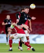 29 October 2020; Sean Murray of Dundalk in action against Granit Xhaka of Arsenal during the UEFA Europa League Group B match between Arsenal and Dundalk at the Emirates Stadium in London, England. Photo by Matt Impey/Sportsfile