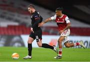 29 October 2020; Sean Murray of Dundalk in action against Reiss Nelson of Arsenal during the UEFA Europa League Group B match between Arsenal and Dundalk at the Emirates Stadium in London, England. Photo by Ben McShane/Sportsfile
