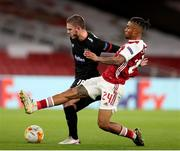 29 October 2020; Sean Murray of Dundalk in action against Reiss Nelson of Arsenal during the UEFA Europa League Group B match between Arsenal and Dundalk at the Emirates Stadium in London, England. Photo by Matt Impey/Sportsfile