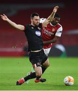 29 October 2020; Patrick Hoban of Dundalk in action against Ainsley Maitland-Niles of Arsenal during the UEFA Europa League Group B match between Arsenal and Dundalk at the Emirates Stadium in London, England. Photo by Ben McShane/Sportsfile
