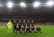 29 October 2020; The Dundalk team, top row, from left, Gary Rogers, Patrick McEleney, Andy Boyle, captain Chris Shields, Brian Gartland and Daniel Cleary. Bottom row, from left, Michael Duffy, Patrick Hoban, Sean Murray, Cameron Dummigan and John Mountney ahead of the UEFA Europa League Group B match between Arsenal and Dundalk at the Emirates Stadium in London, England. Photo by Ben McShane/Sportsfile