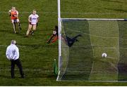 30 October 2020; Aoife McCoy of Armagh scores her side's first goal past Tyrone goalkeeper Shannon Lynch during the TG4 All-Ireland Senior Ladies Football Championship Round 1 match between Tyrone and Armagh at Kingspan Breffni Park in Cavan. Photo by Stephen McCarthy/Sportsfile