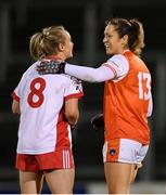 30 October 2020; Caroline O'Hanlon of Armagh and Neamh Woods of Tyrone following the TG4 All-Ireland Senior Ladies Football Championship Round 1 match between Tyrone and Armagh at Kingspan Breffni Park in Cavan. Photo by Stephen McCarthy/Sportsfile