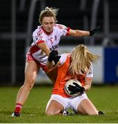 30 October 2020; Kelly Mallon of Armagh in action against Emma Mulgrew of Tyrone during the TG4 All-Ireland Senior Ladies Football Championship Round 1 match between Tyrone and Armagh at Kingspan Breffni Park in Cavan. Photo by Stephen McCarthy/Sportsfile