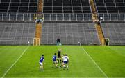 31 October 2020; Referee Ciaran Branagan throws the ball in for the Ulster GAA Football Senior Championship Preliminary Round match between Monaghan and Cavan at St Tiernach's Park in Clones, Monaghan. Photo by Stephen McCarthy/Sportsfile