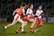 30 October 2020; Tori McLaughlin of Tyrone in action against Sarah Marley of Armagh during the TG4 All-Ireland Senior Ladies Football Championship Round 1 match between Tyrone and Armagh at Kingspan Breffni Park in Cavan. Photo by Stephen McCarthy/Sportsfile