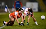 30 October 2020; Colleen McKenna of Armagh in action against Niamh Hughes of Tyrone during the TG4 All-Ireland Senior Ladies Football Championship Round 1 match between Tyrone and Armagh at Kingspan Breffni Park in Cavan. Photo by Stephen McCarthy/Sportsfile