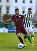 31 October 2020; Shane Duggan of Galway United in action against Ryan Graydon of Bray Wanderers during the SSE Airtricity League First Division Play-off Semi-Final match between Bray Wanderers and Galway United at the Carlisle Grounds in Bray, Wicklow. Photo by Eóin Noonan/Sportsfile