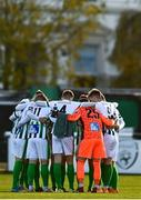31 October 2020; Bray Wanderers players huddle prior to the SSE Airtricity League First Division Play-off Semi-Final match between Bray Wanderers and Galway United at the Carlisle Grounds in Bray, Wicklow. Photo by Eóin Noonan/Sportsfile