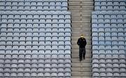 31 October 2020; Kilkenny manager Brian Cody makes his way to the pitch through the empty seats ahead ofthe Leinster GAA Hurling Senior Championship Semi-Final match between Dublin and Kilkenny at Croke Park in Dublin. Photo by Ramsey Cardy/Sportsfile