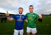 31 October 2020; Chris Conroy, left, and Raymond Galligan of Cavan celebrate following the Ulster GAA Football Senior Championship Preliminary Round match between Monaghan and Cavan at St Tiernach's Park in Clones, Monaghan. Photo by Stephen McCarthy/Sportsfile