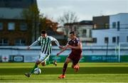 31 October 2020; Derek Daly of Bray Wanderers in action against Marc Ludden of Galway United during the SSE Airtricity League First Division Play-off Semi-Final match between Bray Wanderers and Galway United at the Carlisle Grounds in Bray, Wicklow. Photo by Eóin Noonan/Sportsfile