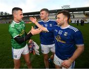 31 October 2020; Cavan players, from left, Raymond Galligan, Paul Graham and Thomas Edward Donohoe celebrate following the Ulster GAA Football Senior Championship Preliminary Round match between Monaghan and Cavan at St Tiernach's Park in Clones, Monaghan. Photo by Stephen McCarthy/Sportsfile