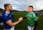 31 October 2020; Raymond Galligan, right, and Killian Clarke of Cavan celebrate following the Ulster GAA Football Senior Championship Preliminary Round match between Monaghan and Cavan at St Tiernach's Park in Clones, Monaghan. Photo by Stephen McCarthy/Sportsfile