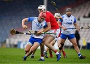 31 October 2020; Jack Prendergast of Waterford is tackled by Tim O'Mahony of Cork during the Munster GAA Hurling Senior Championship Semi-Final match between Cork and Waterford at Semple Stadium in Thurles, Tipperary. Photo by Brendan Moran/Sportsfile