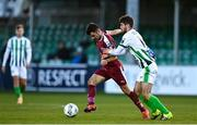 31 October 2020; Stphen Christopher of Galway United is tackled by Seán McEvoy of Bray Wanderers during the SSE Airtricity League First Division Play-off Semi-Final match between Bray Wanderers and Galway United at the Carlisle Grounds in Bray, Wicklow. Photo by Eóin Noonan/Sportsfile