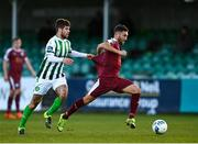 31 October 2020; Shane Duggan of Galway United in action against Seán McEvoy of Bray Wanderers during the SSE Airtricity League First Division Play-off Semi-Final match between Bray Wanderers and Galway United at the Carlisle Grounds in Bray, Wicklow. Photo by Eóin Noonan/Sportsfile