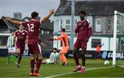 31 October 2020; Wilson Waweru of Galway United celebrates with team-mate Stephen Christopher after scoring his side's first goal during the SSE Airtricity League First Division Play-off Semi-Final match between Bray Wanderers and Galway United at the Carlisle Grounds in Bray, Wicklow. Photo by Eóin Noonan/Sportsfile