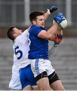 31 October 2020; Thomas Galligan of Cavan in action against Dessie Ward of Monaghan during the Ulster GAA Football Senior Championship Preliminary Round match between Monaghan and Cavan at St Tiernach's Park in Clones, Monaghan. Photo by Stephen McCarthy/Sportsfile