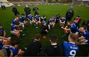 31 October 2020; Cavan manager Mickey Graham speaks to his players following the Ulster GAA Football Senior Championship Preliminary Round match between Monaghan and Cavan at St Tiernach's Park in Clones, Monaghan. Photo by Stephen McCarthy/Sportsfile