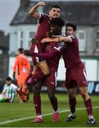 31 October 2020; Wilson Waweru of Galway United celebrates with team-mate Stephen Christopher, left, and Shane Doherty, right after scoring his side's first goal during the SSE Airtricity League First Division Play-off Semi-Final match between Bray Wanderers and Galway United at the Carlisle Grounds in Bray, Wicklow. Photo by Eóin Noonan/Sportsfile