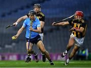 31 October 2020; Danny Sutcliffe of Dublin in action against Cillian Buckley, right, and Walter Walsh of Kilkenny during the Leinster GAA Hurling Senior Championship Semi-Final match between Dublin and Kilkenny at Croke Park in Dublin. Photo by Ray McManus/Sportsfile