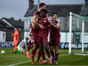 31 October 2020; Wilson Waweru of Galway United celebrates with team-mates after scoring his side's first goal during the SSE Airtricity League First Division Play-off Semi-Final match between Bray Wanderers and Galway United at the Carlisle Grounds in Bray, Wicklow. Photo by Eóin Noonan/Sportsfile