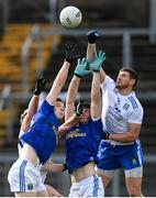 31 October 2020; Gearoid McKiernan, left, and James Smith of Cavan in action against Darren Hughes, right, and Fintan Kelly of Monaghan during the Ulster GAA Football Senior Championship Preliminary Round match between Monaghan and Cavan at St Tiernach's Park in Clones, Monaghan. Photo by Stephen McCarthy/Sportsfile