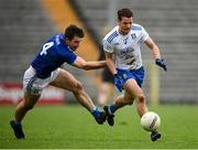 31 October 2020; Ryan Wylie of Monaghan in action against Killian Brady of Cavan during the Ulster GAA Football Senior Championship Preliminary Round match between Monaghan and Cavan at St Tiernach's Park in Clones, Monaghan. Photo by Stephen McCarthy/Sportsfile